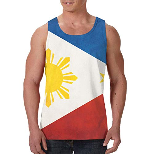 Men Boys Flag of The Philippines Sleeveless Undershirt Summer Athletic Sweat Shirt Dry-Fit Vests Fitness Sport Quick Dry SweatproofBeachwear - Creative 3D Print