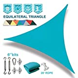 Coarbor 20'x20'x20' Triangle Sun Shade Sail with Hardware kit Perfect for Patio Deck Yard Outdoor Garden Permeable UV Block Shade Cover-Turquoise Green
