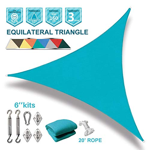 Coarbor 20'x20'x20' Triangle Sun Shade Sail with Hardware kit Perfect for Patio Deck Yard Outdoor Garden Permeable UV Block Shade Cover-Turquoise Green by Coarbor