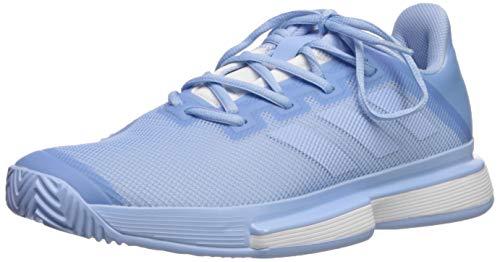 adidas Women's SoleMatch Bounce Tennis Shoe, Glow Blue/White, 10 M US