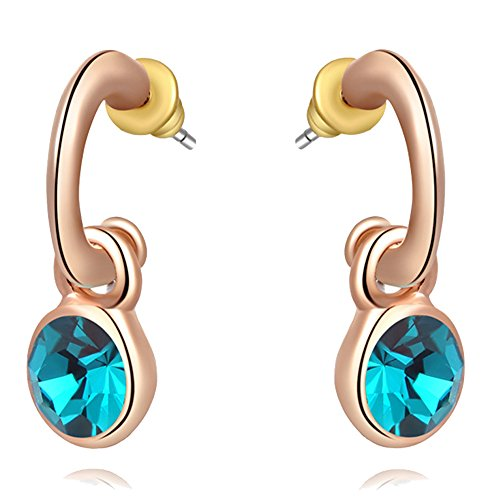 Kaizer Retro Blue 18K Rose Gold Plated Earring