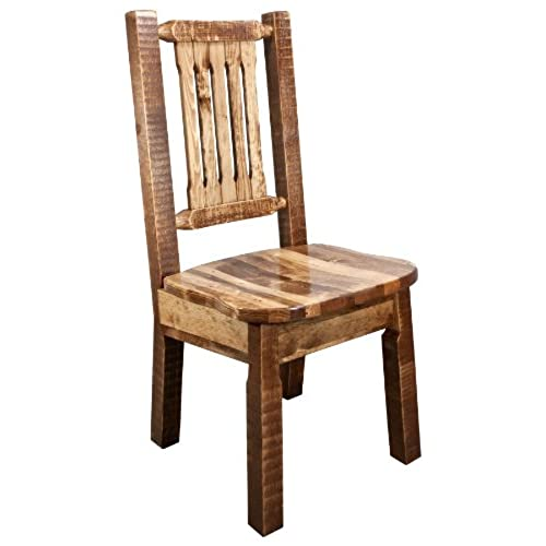 Montana Woodworks Homestead Collection Dining Side Chair With Ergonomic  Wooden Seat, Stain And Lacquer Finish