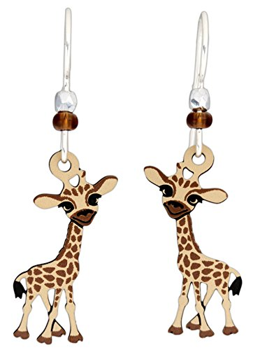Sienna Sky Hypo-Allergenic Animal Sterling Silver Plated French Hook Ear Wire Earrings (Baby Giraffe)