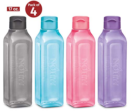 MILTON Sports Water Bottle Square Juice Box 4 Set 17 oz. Great for Juices Milk Smoothies Plastic Wide-Mouth Reusable Leak Proof Drink Bottle/Carton for School Bags Lunch Boxes Gym Flip Lid -BPA Free