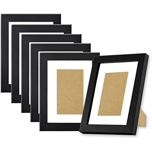 Black Picture Frames 5x7 (6 pack) made of Natural Solid Wood, Display Pictures 5x7 4x6, Both Vertical and Horizontal -