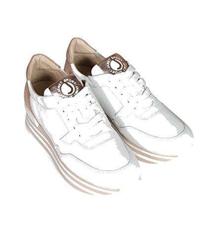 Janet Sport Dames Sneaker Plateau In Beige En Wit Bianco Bianco Rame