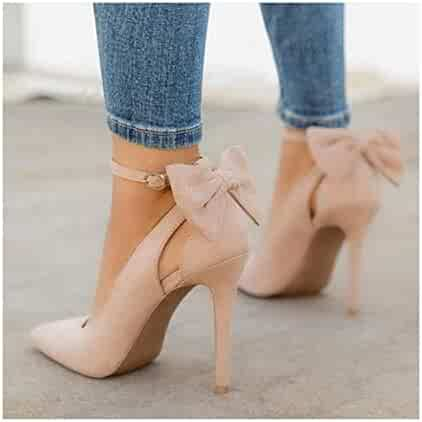 a71268b581b HANBINGPO New Women high Heels Pointed Toe Pumps Sexy Party Stiletto Bow  Buckle Strap Bridal Ladies