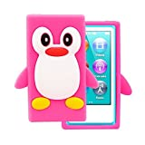 Tsmine Apple Ipod Nano 7th Generation Penguin Cartoon Case - Cute 3D Penguin Soft Silicone Back Washable Cover Case Protective Skin for iPod Nano 7th Gen, Rose Pink