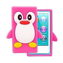Tsmine Apple Ipod Nano 7th Generation Penguin Cartoon Case - Cute 3D Penguin Soft Silicone Back Washable Cover Case Protective Skin for iPod Nano 7th Gen, Rose Pink