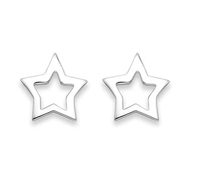 55d743958 Sterling Silver Star Earrings - Open design Star Studs SIZE: 6mm 5154. Gift  Boxed: Amazon.co.uk: Jewellery