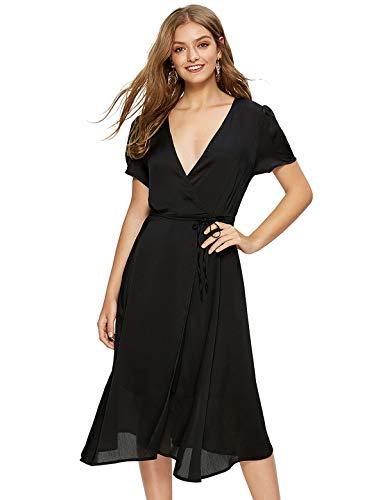 Escalier Women's Floral Wrap Dress Split Short Sleeve V Neck Tie Front Chiffon Summer Party Midi Dresses Black Small