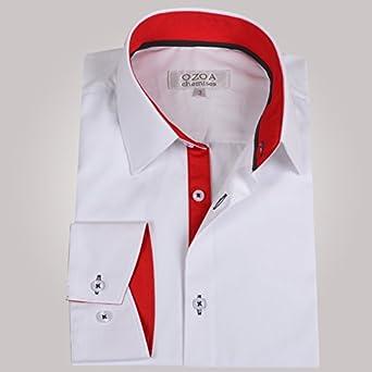 238190de01495 Ozoa - Chemise homme blanche trio rouge & anthracite - Chemise NON CINTRÉE  - Taille 7