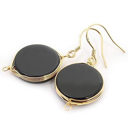 Natural Stone Wire Wrap Dangle Drop Earrings Gold Plated 925 Sterling Silver Hook/Black Onyx Round 16mm