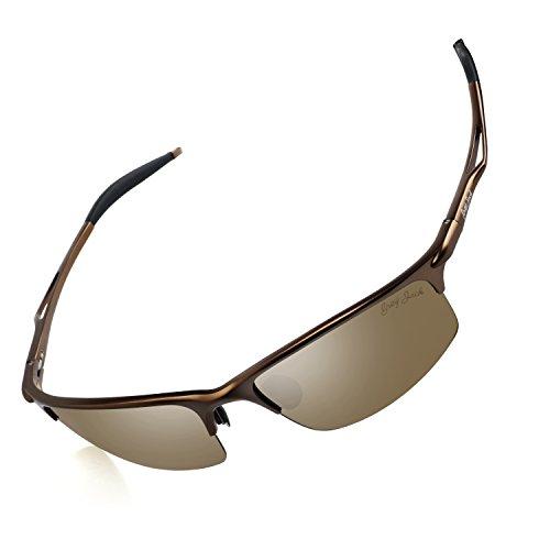 Womens Medium Frame Sunglasses - GREY JACK Sports Style Polarized Sunglasses Al-Mg Metal Frame Ultra Light for Men Women Coffee Lens