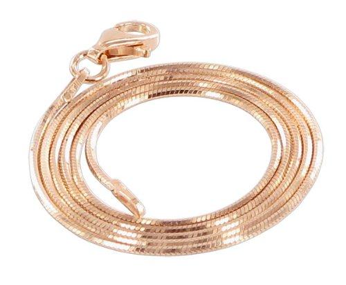 Gem Avenue 14k Rose Gold over Sterling Silver Vermeil Snake Chain 1mm Bracelet (7'' - 8'' Available)