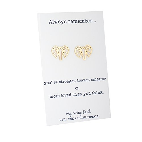 My Very Best Geometric Origami Elephant Stud Earrings (gold plated brass)