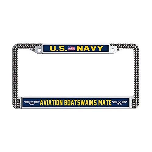 US Navy Aviation Boatswain's Mate License Plate Frame,Black Rhinestones Car Tag Holder
