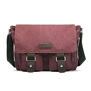 FANDARE Vintage Crossbody Bag Unisex Canvas Messenger Bag 7.9 inch iPad Satchel Bag Travel Shoulder Bag Working Bag Bookbag Briefcase for Men and Women Wine Red