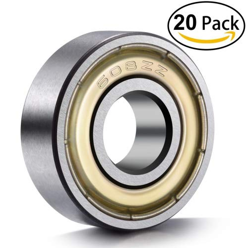 20-Pack 608 ZZ Ball Bearings , 608zz Metal Double Shielded Miniature Deep Groove Skateboard Ball Bearings (8mm x 22mm x 7mm) ()