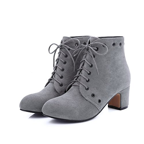 Closed Imitated Toe up Heels Suede Kitten Women's Gray Lace Allhqfashion Boots Solid Round zF011q