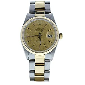 Best Epic Trends 41ax8SrYVhL._SS300_ Rolex 16013 Mens Datejust 36mm Steel & Gold Oyster Band Champagne Linen Dial & Fluted Bezel (Certified Preowned)