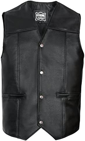 RKsports Lace Motorcycle Biker Clasp Full Leather Vest Waistcoat Black Tassel Cowhide