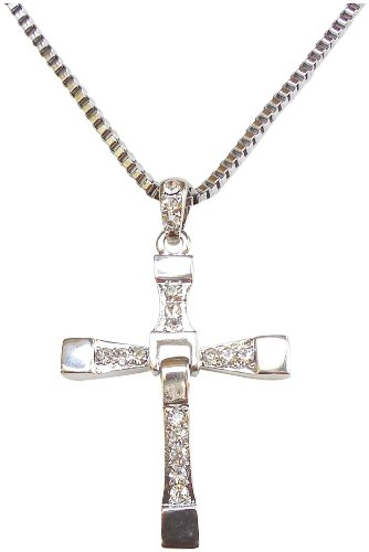 Fast Five Inspired Dominic Torreto Style Silver Tone Cross Necklace - Vin Diesel Cross (Diesel Collection)