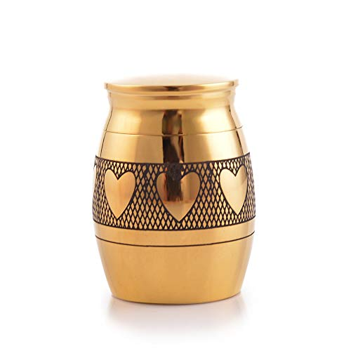 (Sunling Hearts Love Engraved Small Stainless Steel Decorative Memorial Keepsake Cremation Urns Jar for Human Pet Ashes Funeral Bottle Holder for Grandma,Grandpa,18k Gold,Waterproof)