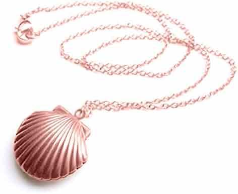 Adecco LLC Sea Shell Locket, Mermaid Valentine Necklace, Little Shell Locket, Nautical Jewelry