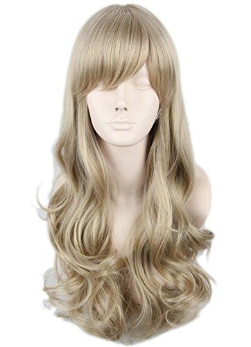Topcosplay Women's Hair Wig Long Wavy Cosplay Wig Halloween Costumes Wig Ash Blonde