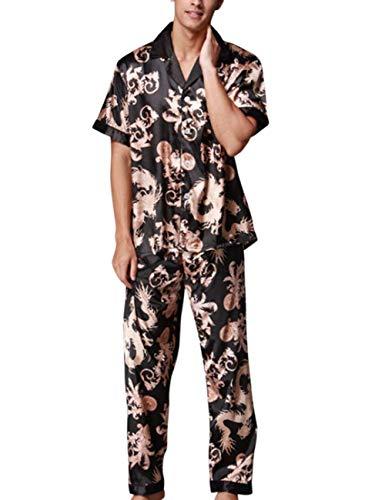 Impreso Piezas Pijamas Loungewear Estilo Summer Suave Pijama Regalo De Conjunto Dormir Set Ropa Nner Especial Simulation Schwarz Cómodo Home Baño Dos Floral Seda Hombres BPwBqxz
