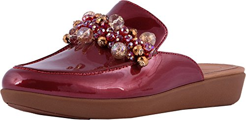 FitFlop Womens Serene Deco Beaded Mule Shoes, Fire Red, US 8