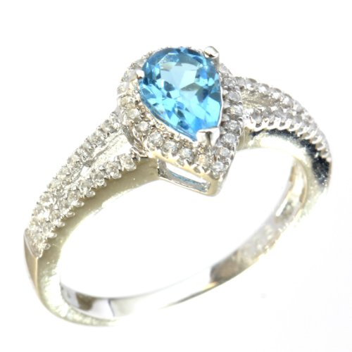 Sterling Silver Split Shank Pear Shape Blue Topaz Halo Ring - Shank Split Topaz