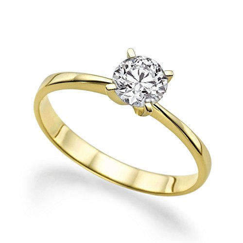 Beautiful 1.00ct Lab Created White Sapphire Engagement Ring Yellow Gold 14K ()