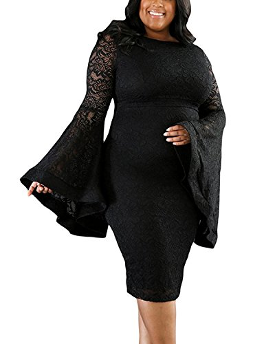 Daci Women's Plus Size Bell Sleeves Lace Sexy Bodycon Wedding Cocktail Party Dress Black 16W