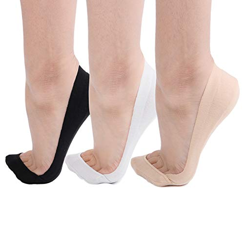 Flammi Women's 3 Pairs TRULY No Show Socks for Flats Non Slip Ultra Low Cut (beige,black,grey)