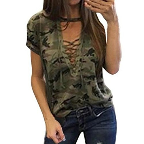 Girls Blouse, Misaky 2018 Women's Short Sleeve Tops Camouflage Hunting (Trendy Fashion Top)