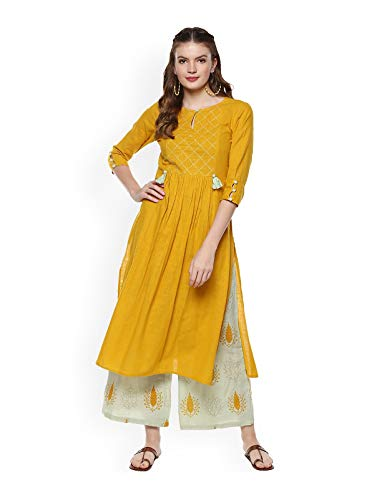 Women Yellow & Peach-Coloured Printed Kurta with Sharara & Dupatta Full Set Dream Angel Fashion (Medium-36)