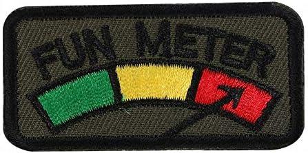刺繍 ベルクロ ワッペン FUN METER ファンメーター ミリタリー パッチ A0367 (アーミーグリーン)