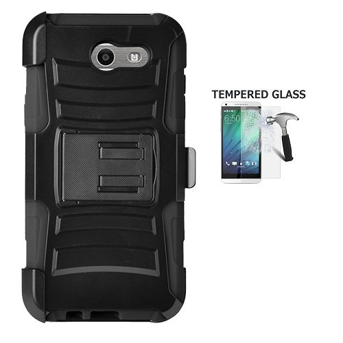 Phone Case For Straight Talk Samsung Galaxy J3 Luna Pro 4G LTE, Samsung Galaxy J3 Emerge Case, Tempered Glass Screen Protector + Dual Layer Holster Belt Clip Cover Case with Kickstand (Black)