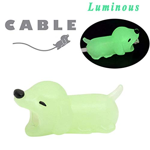 Price comparison product image Cable Bite / Luminous Cute Animal Cable Protector / Lightning USB Data Cord Saver Cable Charger Cover Phone Accessory (Dog D)