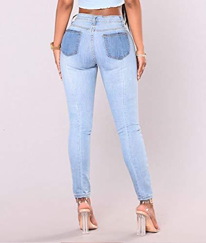 Yujeet Clair Bleu Couleur Droite Jeans Femmes Dcontracte Denim Mode Crayon Pantalon Coupe Serr Couture Slim Confortable r1ZrwqA