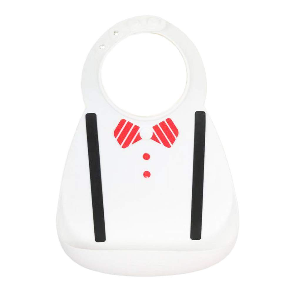 BabyStyle-Best quality -Boss Baby Tie Bib Cool Design waterproof silicone bibs-soft and smooth material (white) by MYC Babystyle