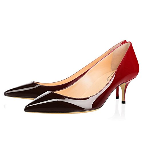 Pompes EKS Noir2 Chaton Pointu Toe Chaussures Party Pompes Verni Travail de Talon Rouge en Cuir Femmes Robe 6CM qrgq1P
