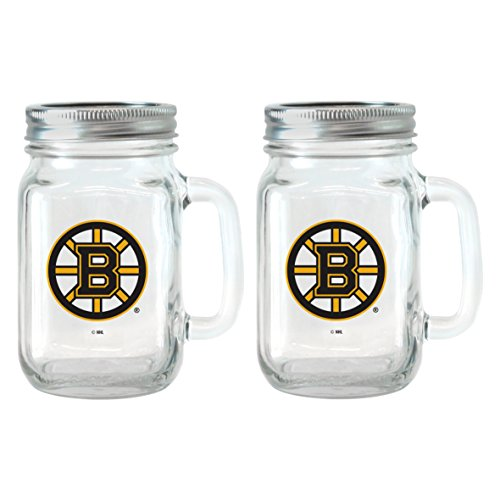 NHL Boston Bruins Glass Mason Jar with Lid, 16-ounce, - Bruins Glass