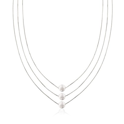 Silver Three-Strand Layered Bead Necklace ()