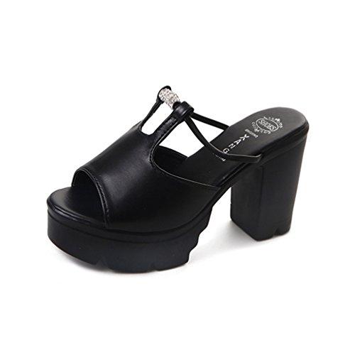 JITIAN Sandale Plateforme Femme, Chaussure Talon Haut Carr