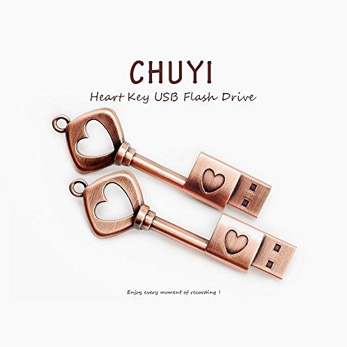 CHUYI Metal Heart Key Shape 16GB USB 2.0 Flash Drive Pen Drive Memory Stick USB Flash Disk Thumb Drive Christmas Gift by CHUYI (Image #2)