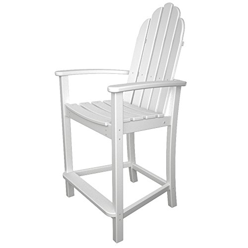 POLYWOOD ADD201WH Classic Adirondack Counter Chair, White ()
