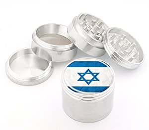 Israel Flag Design Medium Size 4Pcs Aluminum Herbal or Tobacco Grinder # 50M050416-24